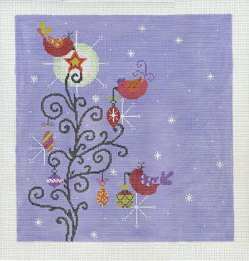 Purple Bird Tree Contemporary