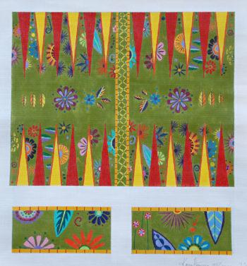 Green Flower Backgammon Board