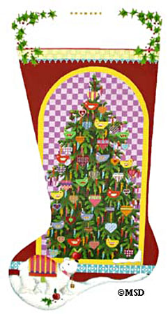 Nordic Birds and Hearts Tree Stocking