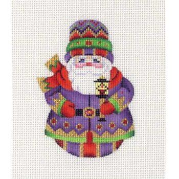 Roly Poly Santa w/Lantern