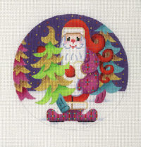 Round Santa Ornament Selecting Tree