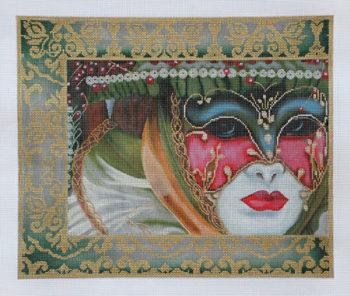 Dark Green damask Mask