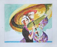 Art Deco Lady with Umbrella
