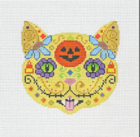 Day of the Dead Cat w Pumpkin