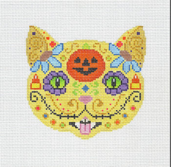 Day of the Dead Cat w Pumpkin