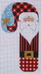 Striped Santa Candycane Ornament