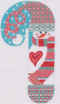 Snowman Heart Candycane Ornament