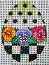 Checkered Egg with Pansies