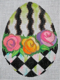 Checkered Egg with Roses