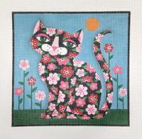 Flowered Black Cat