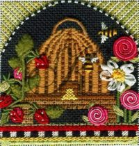 Folk Art Bee Skep with Strawberries